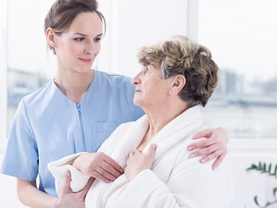 Bella Home Care - Carer Helping Patient Wash and Dress